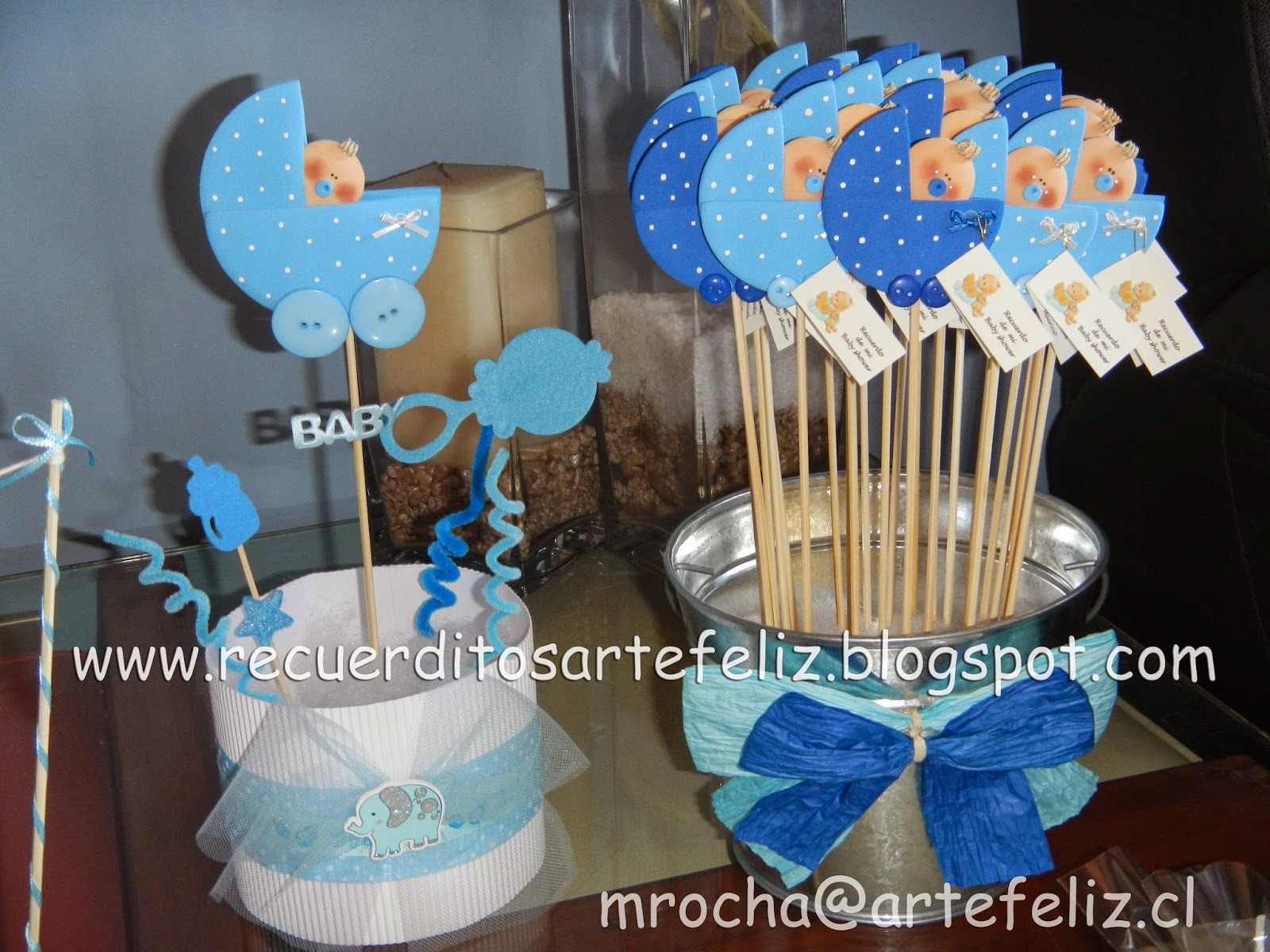Encintados y recuerditos artefeliz for Mesa baby shower nino