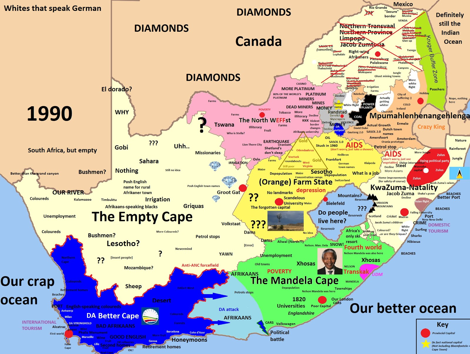 South Africa stereotype map