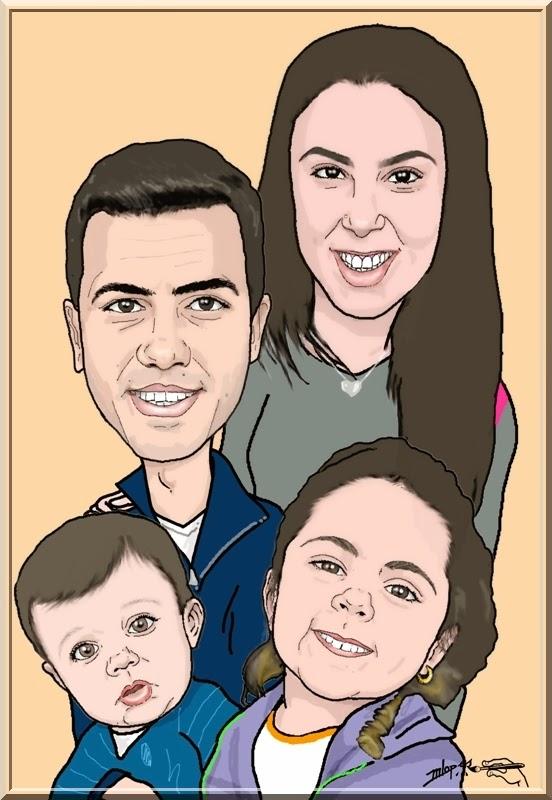 Caricatura Nilmar e família pelo Desenhista Marcelo Lopes de Lopes