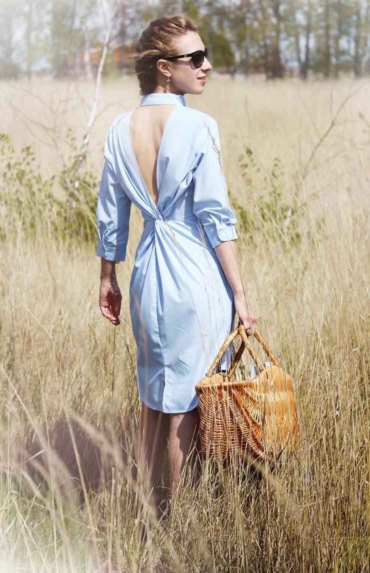 платье-рубашка с открытой спиной