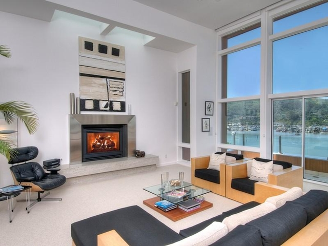 Photo of modern living room with fireplace