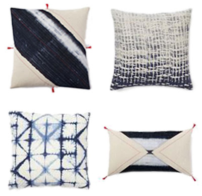 West Elm shibori and indigo tie dye pillows