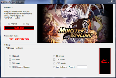 monster warlord cheat hack free download jewels iphone android gold level apk