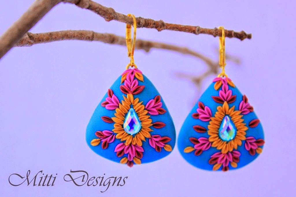 Earrings, Indian Inspired, embroidery, polymer clay, handmade, mitti designs, rachana saurabh, spring flowers, flower earrings,