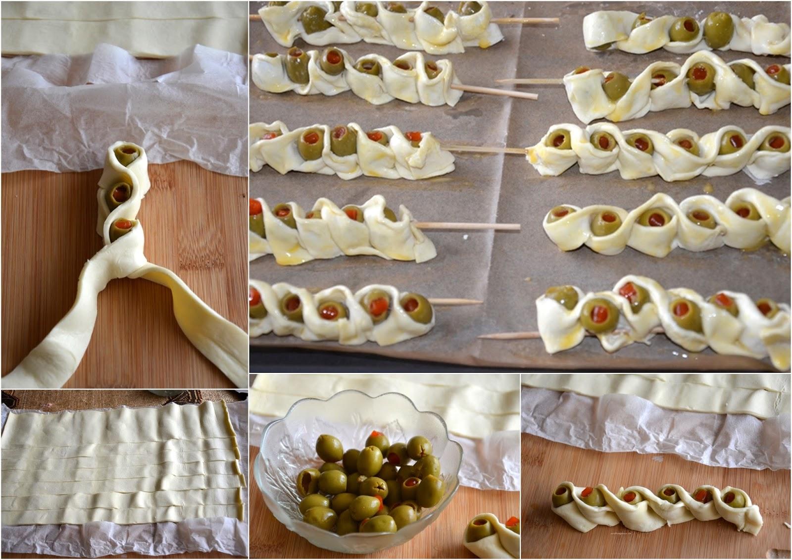 Ciasto francuskie z oliwkami