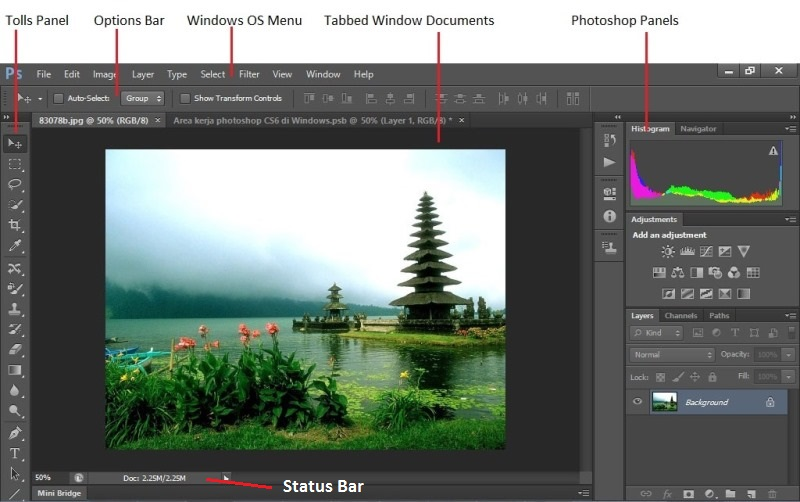 area kerja photoshop, adobe photoshop, photoshop cs6