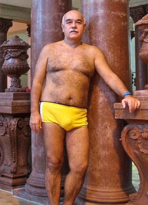 Hairy cute oldman yellow slip