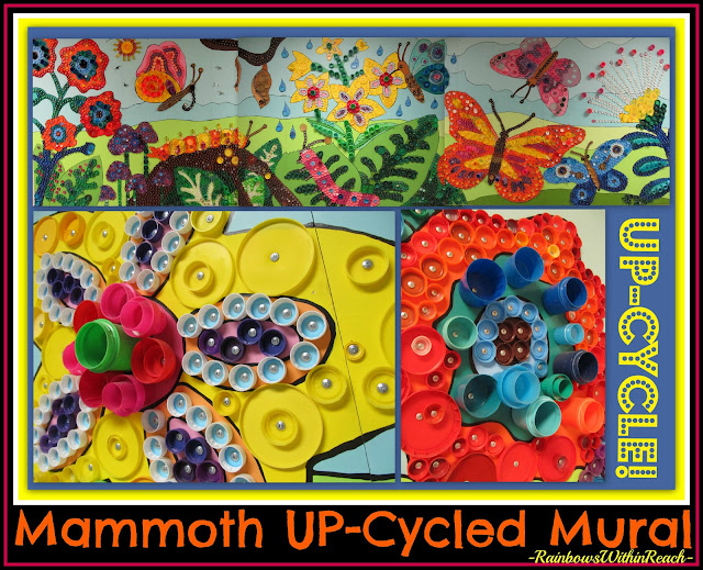 Upcycled Cooperative Mural from Bottle Lids and Tops