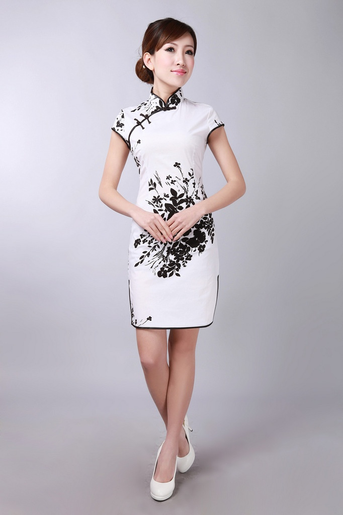 Black & White Elegant Cotton Short Cheongsam Qipao Dress