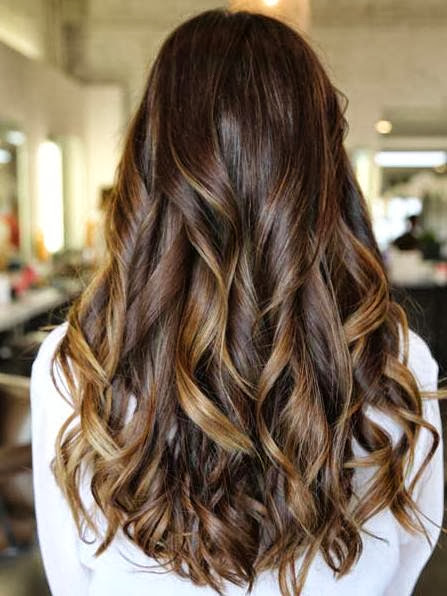 Caramel Hoghlights With Brunette Hair Color