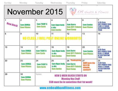 Nov. Class Schedule