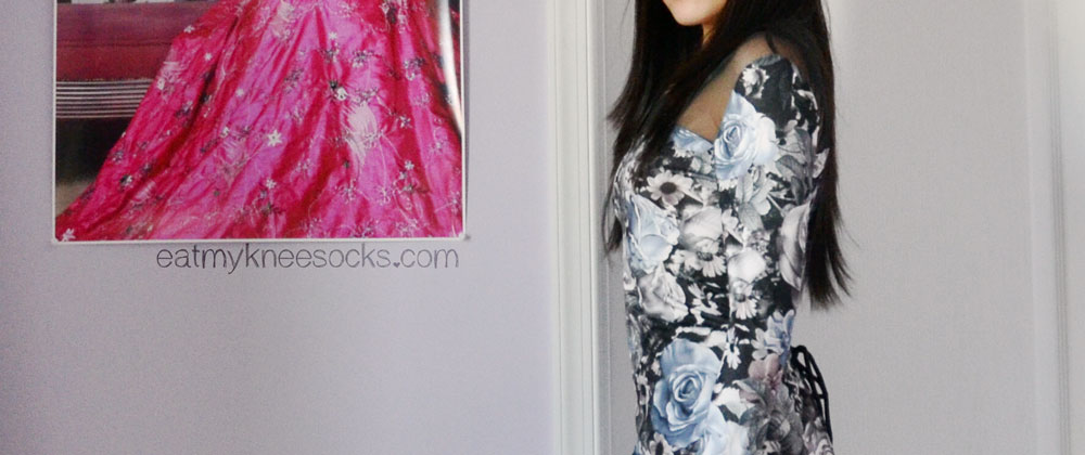 Side view of the blue-and-purple floral rose-print dress from Romwe.