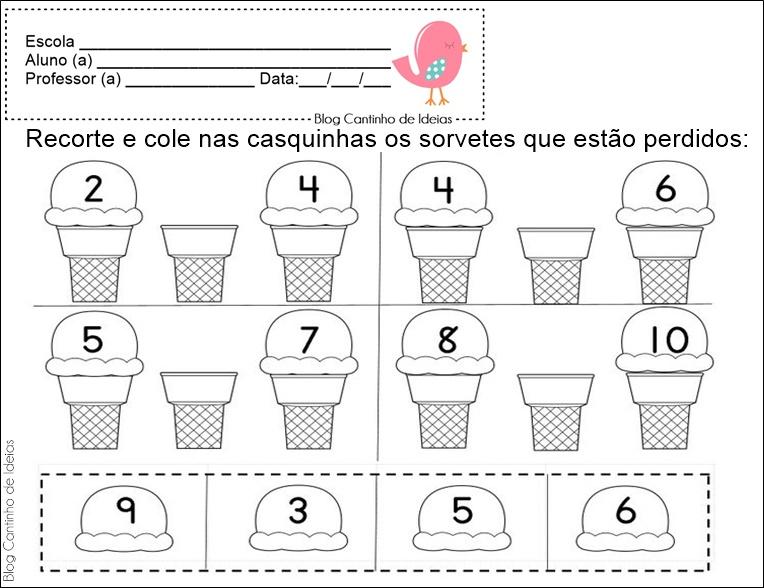 Fabuloso Blog Cantinho de Ideias: Matemática na Educação Infantil - Atividades DA61