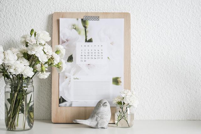 calendrier, à imprimer, printable, flower, fleuri, romantique, hellocoton, calendar, juin, june,