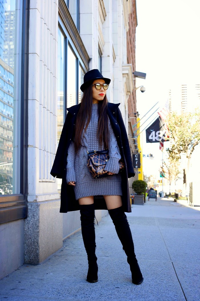 Unif reverb sweater, urban outfitters, holiday sale, cable knit sweater, winter essential, steve madden over the knee boots, dolce gabbana sisly bag, leopard print, zara coat, baublebar pearl earring, le specs sunglasses, fashion blog, shallwesasa, street style, tommy ton, nyc