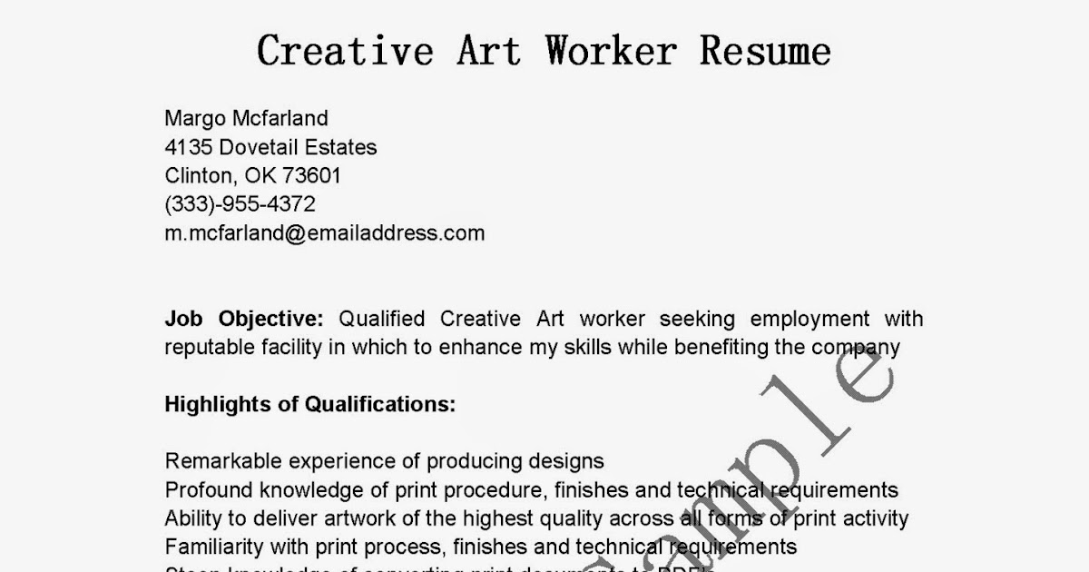 resume samples  creative art worker resume sample