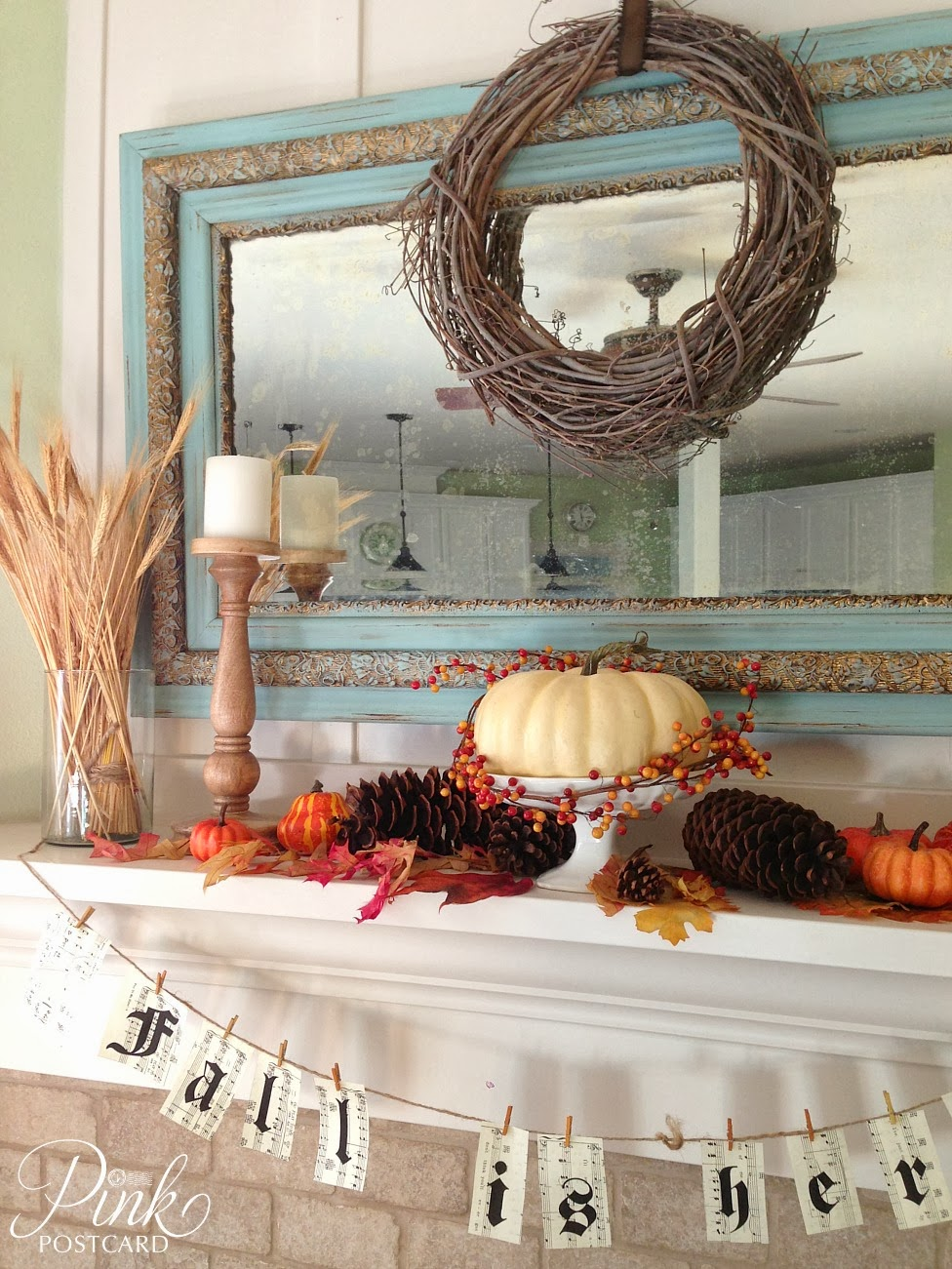 Simple fall mantel fall decor noble vintage for Fall mantel decor
