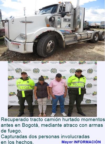 FUSAGASUGÁ: Recuperado tracto camión hurtado en Bogotá