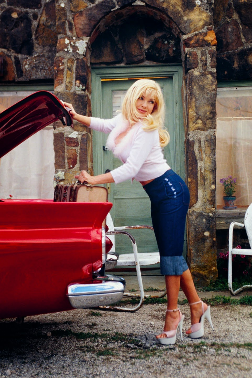 angela little   miss august 1998   vintage classic cars