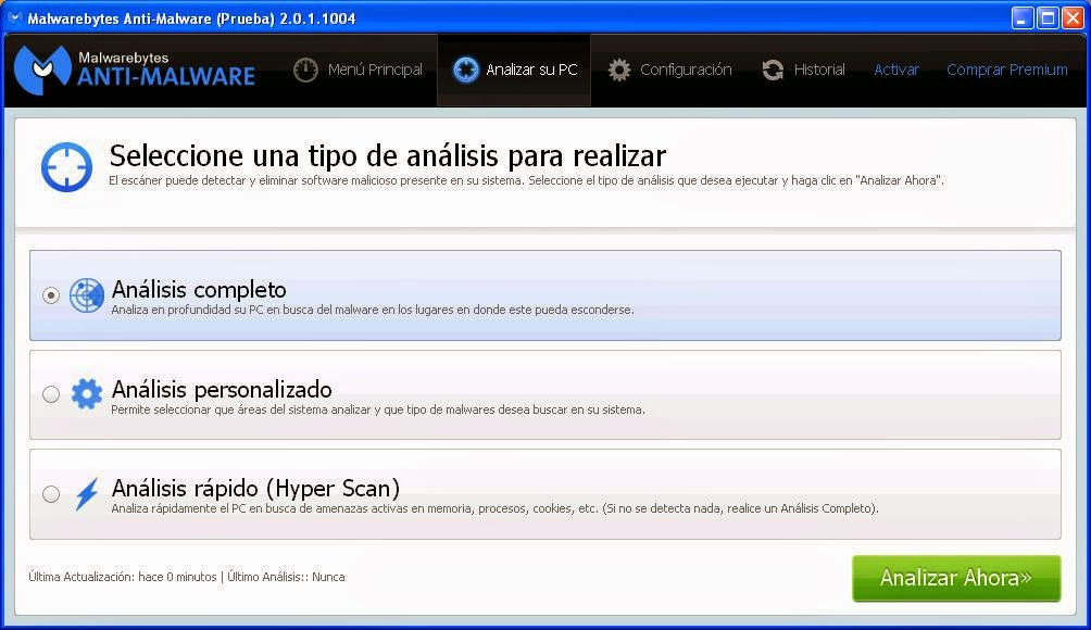 Análisis completo Malwarebytes