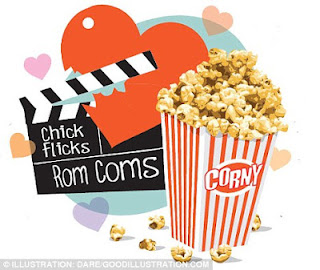 Romantic comedy graphic with corny popcorn and big love heart
