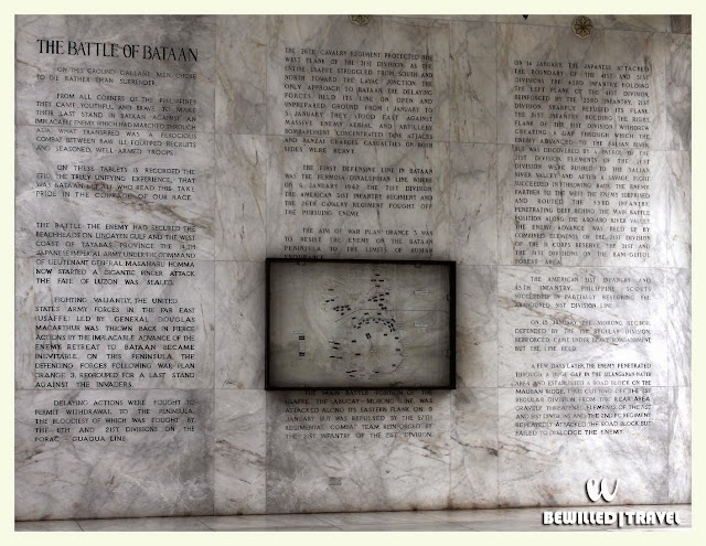 Historical Scriptures about the Battle of Bataan on the wall of Colonnade