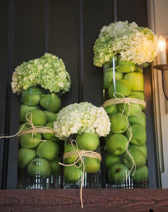 Neo arquitecturaymas manzanas verdes para centros de mesa for Decorar jarrones de cristal