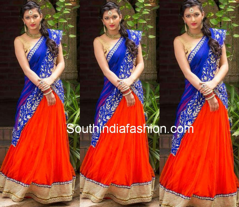 orange and blue half saree