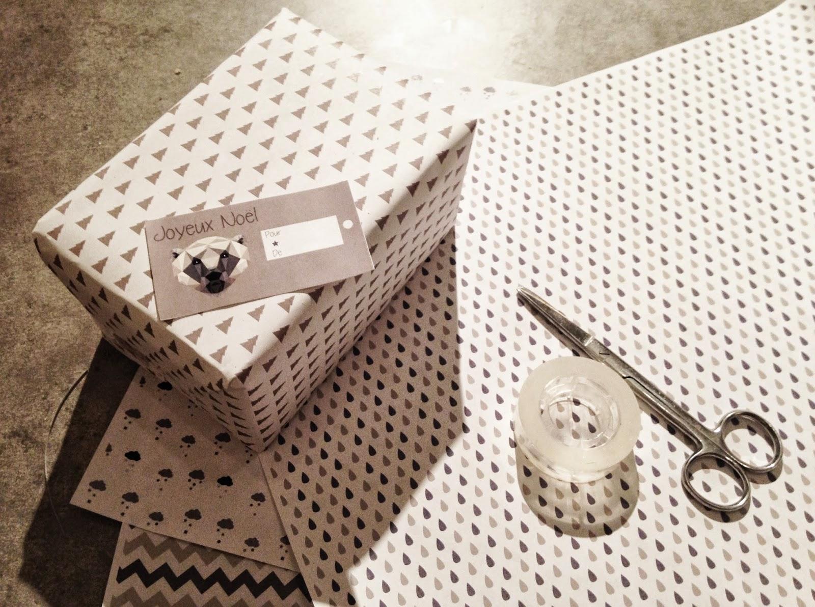 Papier cadeau et étiquettes à imprimer. Printable