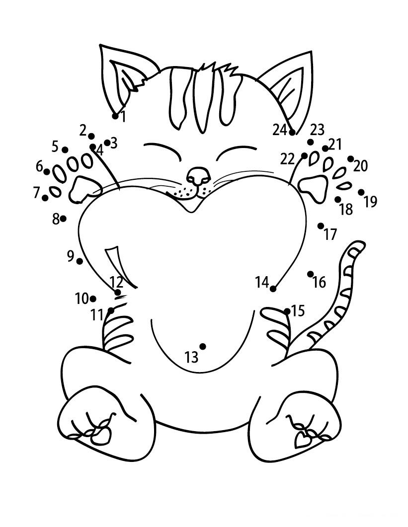 a desenhar Ligar pontos cão e gato colorir