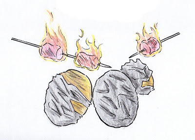 draw potatos marshmallow bonfire