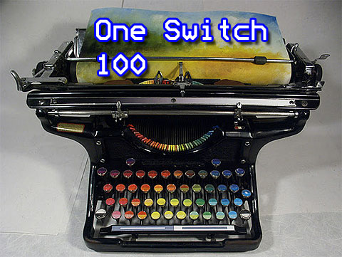 Image of a Chromatic Typewriter, that types colours. The words One Switch 100 hovers over it.