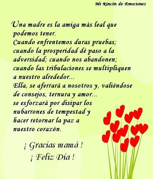 Gracias Madre Frases Tarjeta Con Flores De Corazones Para Dar Las Gracias A Mamá