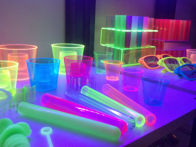 UV reactive Neon GLOW Bar Supplies, Racks, Shots, Cups, Bomb Shots