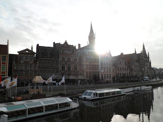 Ghent canal side walks in the early morning