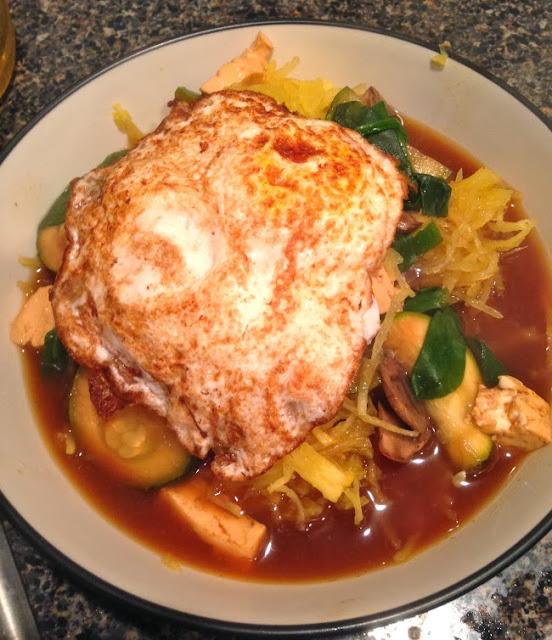 Tofu & Mushroom Soup w/ Spaghetti Squash & Fried Egg