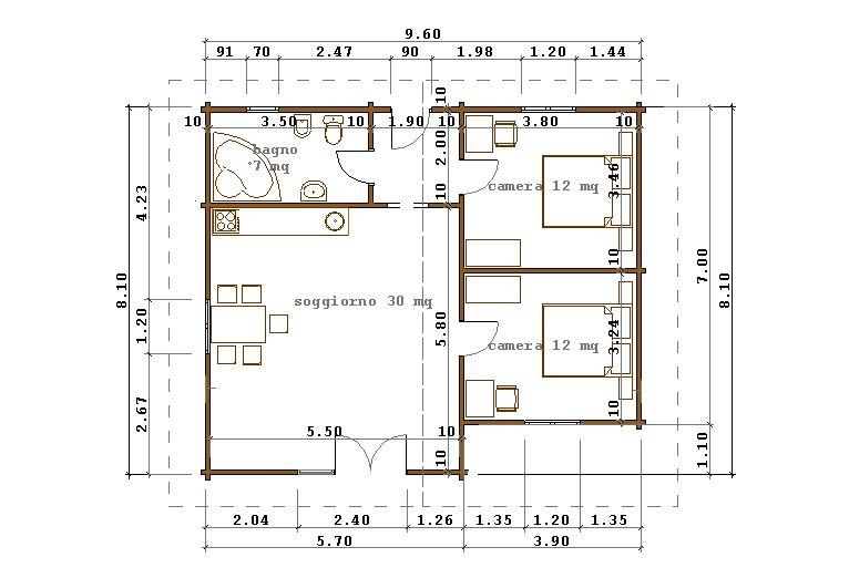 Progetti di case in legno casa 73 mq for Progetti contemporanei di case a pianta aperta