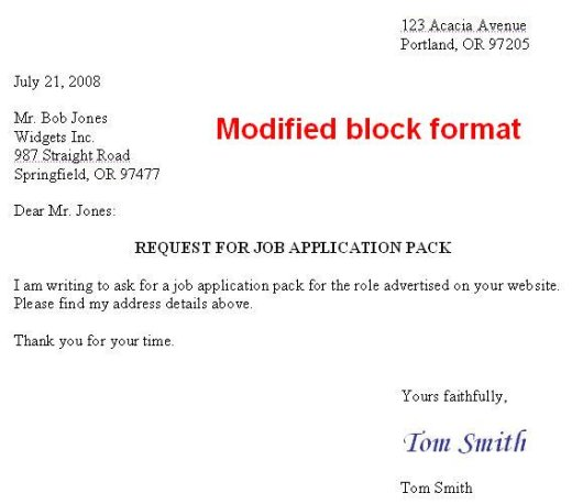 Finch style of business letter modified block format spiritdancerdesigns Images