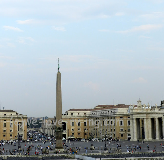 The obelisk stands in the center of St. Peter's Plaza
