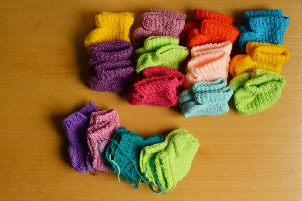 knitted booties rainbow collection