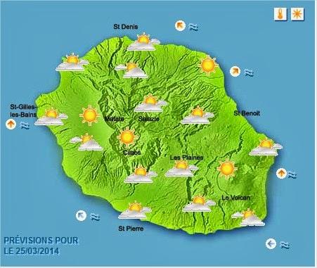 Prévisions météo Réunion pour le Mardi 25/03/14
