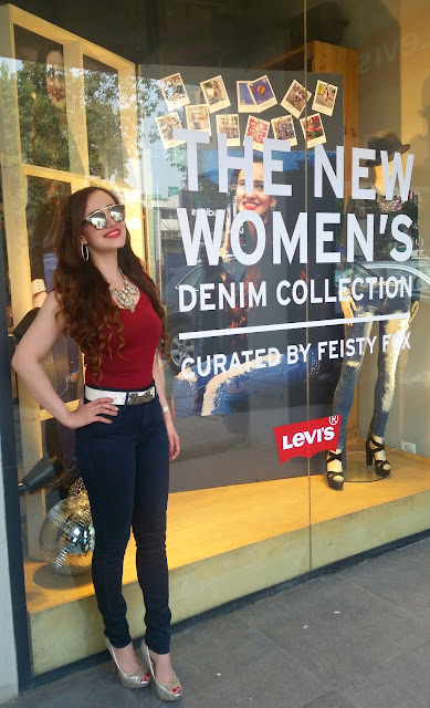 Levis Store Window curated by Feisty Fox ,fashion blogger, Feisty Fox Diaries, Stephanie