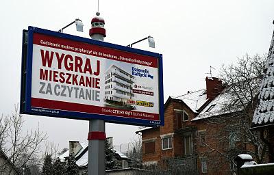 mieszkanie za czytanie baner reklama przy Łostowickiej