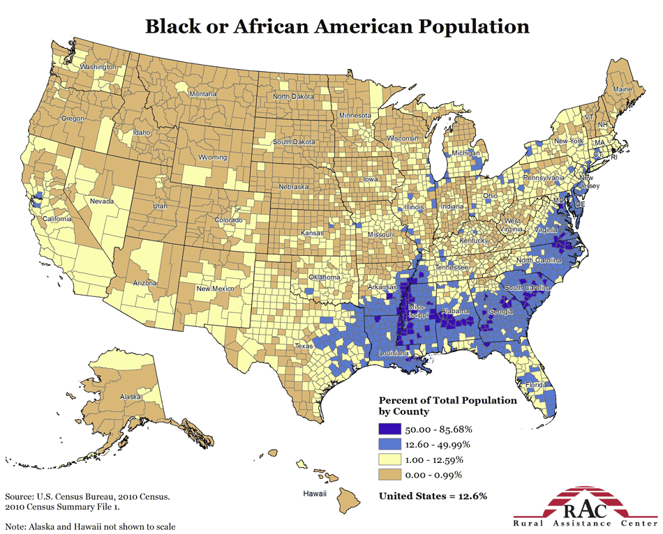 Map of Black Population in USA Free Printable Maps