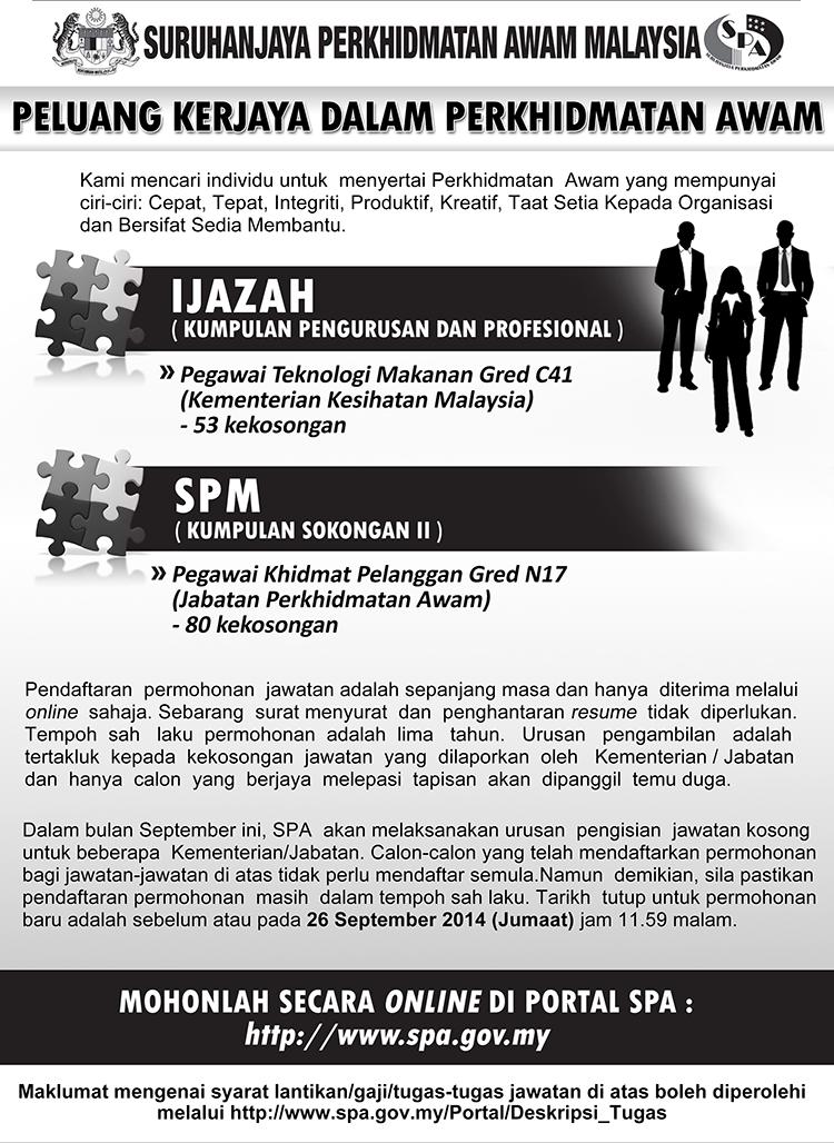 Jawatan Kosong Terbaru SPA Tarikh Tutup 26 September 2014