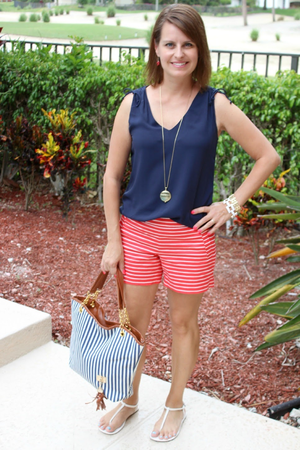 Nautical look Navy woven top red and white J Crew rope print shorts gold jewelry blue and white striped tote