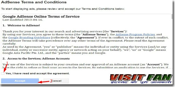 adsense terms and conditions
