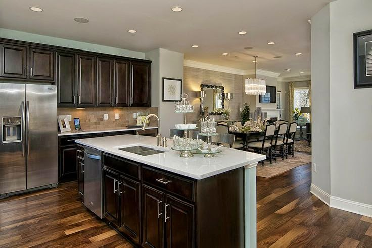 Dark Cabinets Light Granite With A Rustic Glam Dining Area