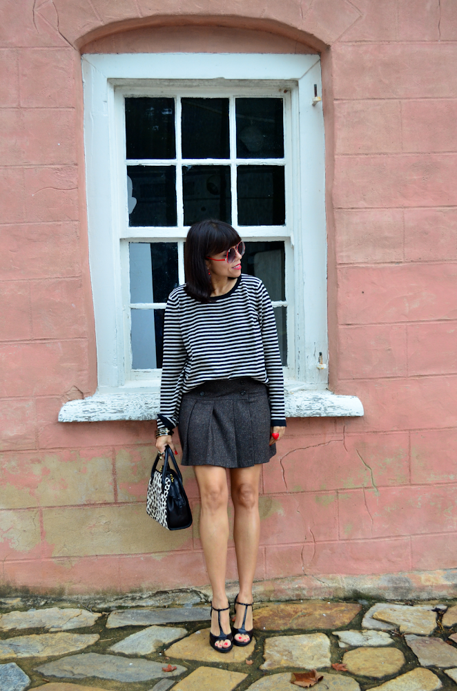 Striped black and white sweater outfit