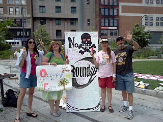 Ellen, Joan, Eden and Joe pose infront of Roundup Dewey Sq. Boston